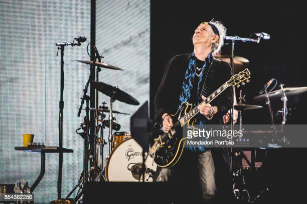 Keith Richards guitarist of british Rock band The Roling Stones performs at Lucca Summer Festival Lucca September 23 2017
