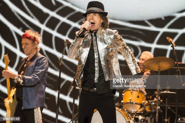 Keith Richards Mick Jagger and Charlie Watts of English rock band The Rolling Stones performing live onstage at The O2 Arena in London November 29...