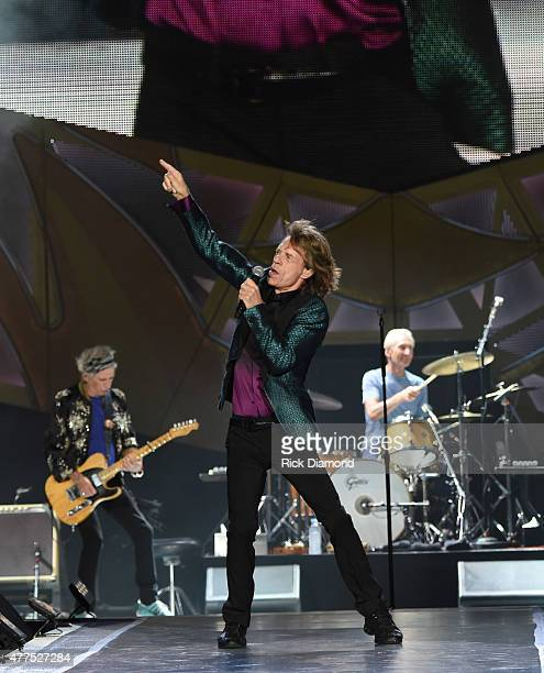 Keith Richards Mick Jagger and Charlie Watts of The Rolling Stones perform during The Rolling Stones North American ZIP CODE Tour Nashville at LP...