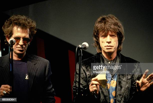Keith Richards Mick Jagger of The Rolling Stones attend the press conference announcing their Voodoo Lounge tour circa 1994 in New York City