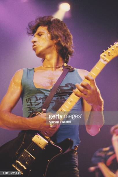 Keith Richards of English rock group the Rolling Stones performs live on stage on one date of The Rolling Stones European Tour 1982, in June 1982.