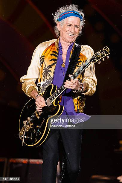 Keith Richards of the band Rolling Stones performs live on stage at Morumbi Stadium on February 24 2016 in Sao Paulo Brazil