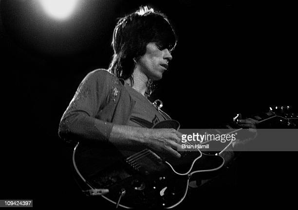 Keith Richards of the rock band 'The Rolling Stones' performs on stage at Madison Square Garden during their Storm America tour November 27 1969