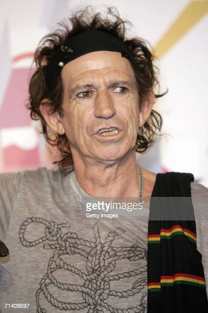 Keith Richards of The Rolling Stones attends a press conference ahead of tomorrow's concert at Hotel Principe di Savoia on July 10 2006 in Milan...