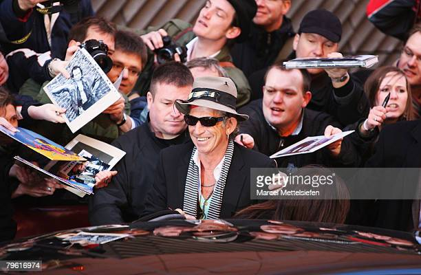 Keith Richards of the Rolling Stones attends the 'Shine A Light' Photocall as part of the 58th Berlinale Film Festival at the Grand Hyatt Hotel on...