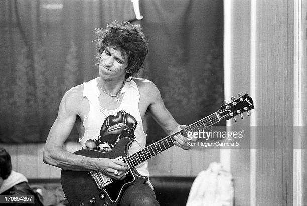 Keith Richards of the Rolling Stones is photographed for the July 19 1982 issue of People Magazine on June 2526 1982 backstage at Wembley Stadium in...