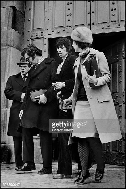 Keith Richards of the Rolling Stones leaving Aylesbury Crown Court where he was convicted of a drug offence January 1977