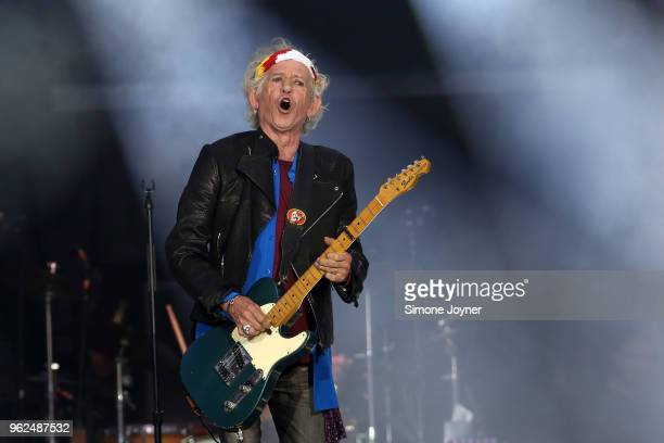 Keith Richards of The Rolling Stones perform live on stage during the 'No Filter' tour at The London Stadium on May 25 2018 in London England