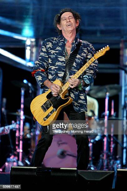 Keith Richards of The Rolling Stones performing at Telstra Stadium Homebush Sydney 11 April 2006 SMH Picture by EDWINA PICKLES