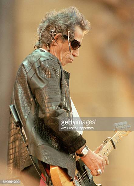 Keith Richards of The Rolling Stones performing on stage at Wembley Stadium in London on the 11th June 1999