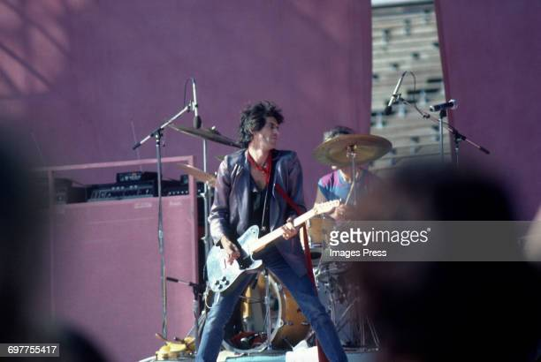 Keith Richards of the Rolling Stones performing on stage during their concert at JFK Stadium circa 1981 in Philadelphia Pennsylvania