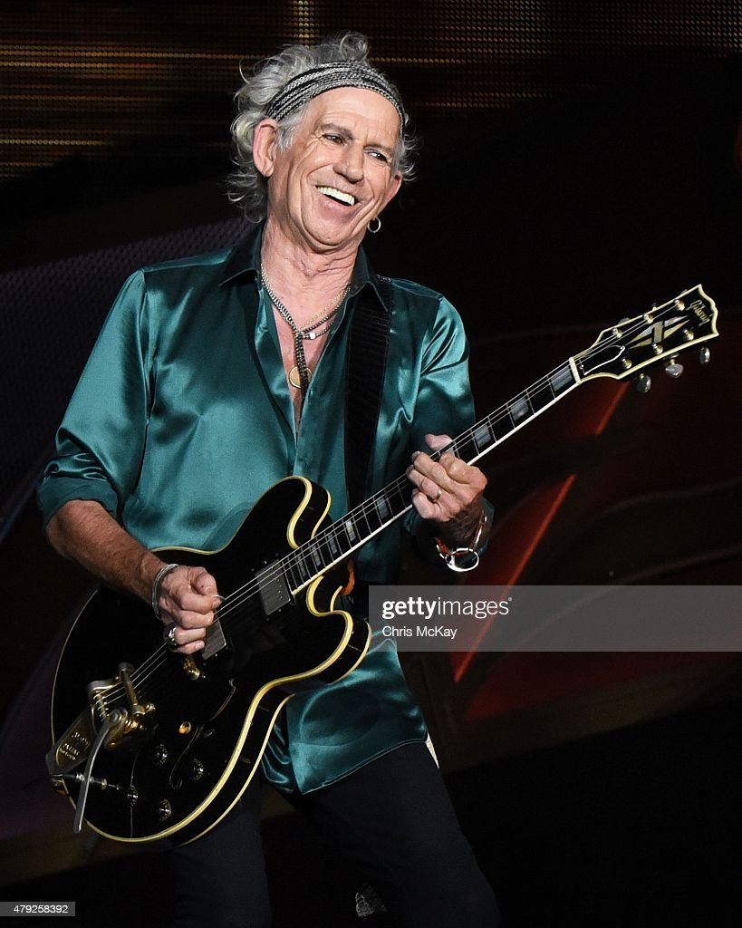 Keith Richards of The Rolling Stones performs at Carter Finley Stadium on July 1, 2015 in Raleigh, North Carolina.