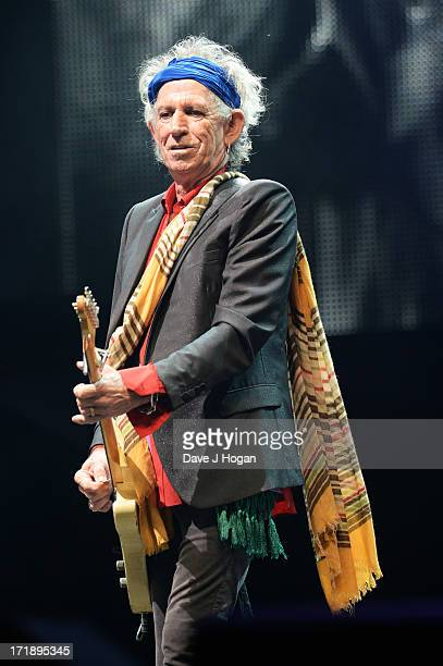 Keith Richards of The Rolling Stones performs at day 3 of the 2013 Glastonbury Festival at Worthy Farm on June 29 2013 in Glastonbury England