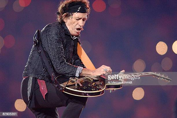 Keith Richards of the Rolling Stones performs at halftime during Super Bowl XL between the Pittsburgh Steelers and Seattle Seahawks at Ford Field in...