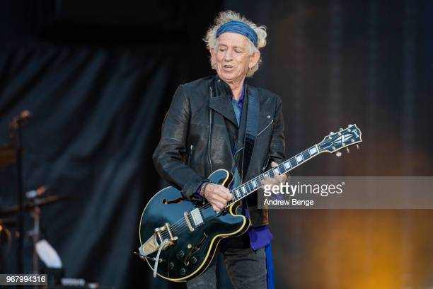Keith Richards of The Rolling Stones performs live on stage at Old Trafford on June 5 2018 in Manchester England