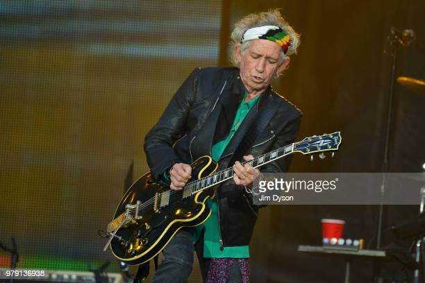 Keith Richards of The Rolling Stones performs live on stage at Twickenham Stadium during the 'No Filter' tour on June 19 2018 in London England