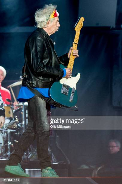 Keith Richards of The Rolling Stones performs live on stage during the 'No Filter' tour at The London Stadium on May 25 2018 in London England