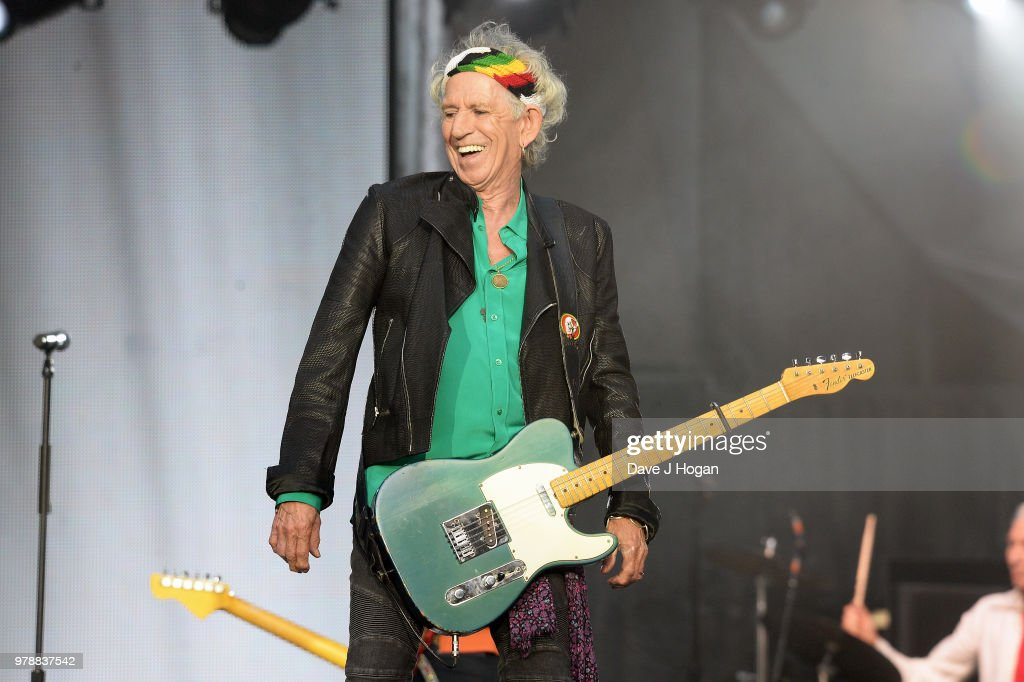 Keith Richards of The Rolling Stones performs live on stage during the 'No Filter' tour at Twickenham Stadium on June 19, 2018 in London, England.