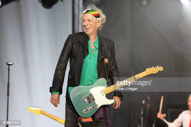 Keith Richards of The Rolling Stones performs live on stage during the 'No Filter' tour at Twickenham Stadium on June 19 2018 in London England