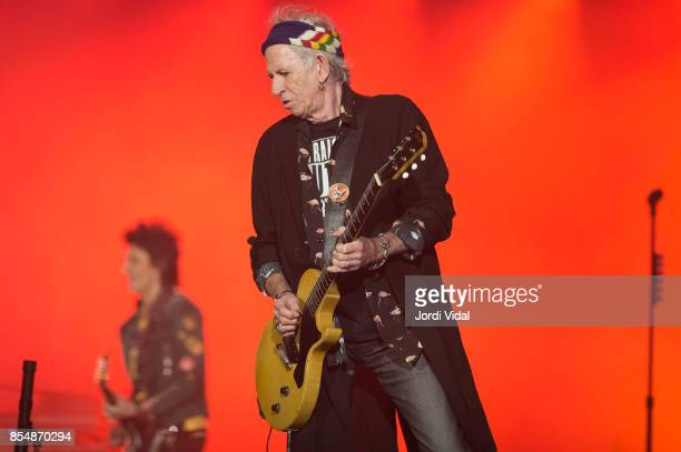 Keith Richards of The Rolling Stones performs on stage at Estadi Olimpic on September 27 2017 in Barcelona Spain