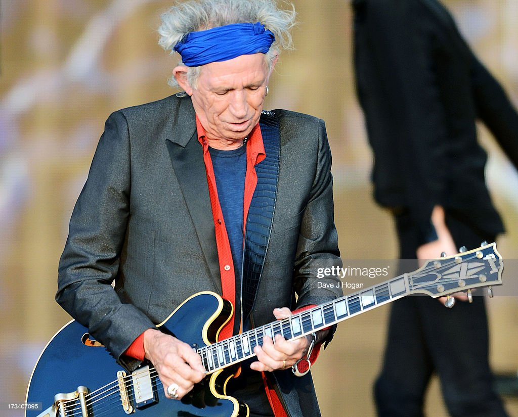Keith Richards of The Rolling Stones performs on stage during a headline performance as part of Barclaycard Present British Summer Time Hyde Park on July 13, 2013 in London, England.