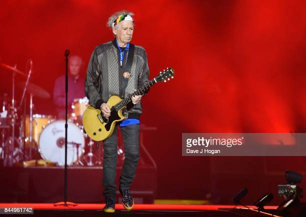 Keith Richards of The Rolling Stones performs on the opening night of their European 'No Filter' tour on September 9 2017 in Hamburg Germany