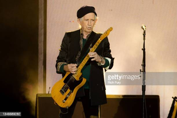Keith Richards of The Rolling Stones performs onstage at SoFi Stadium on October 14, 2021 in Inglewood, California.