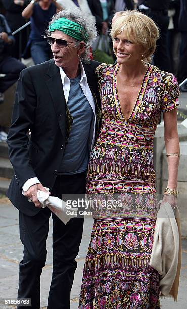 Keith Richards of The Rolling Stones with his wife Patti Hansen arrives at Southwark Cathedral to attend Leah Wood's wedding to Jack MacDonald on...