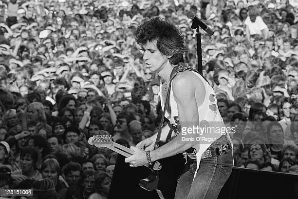Keith Richards performing with the Rolling Stones at the Ullevi stadium, Gothenburg, Sweden, June 1982.