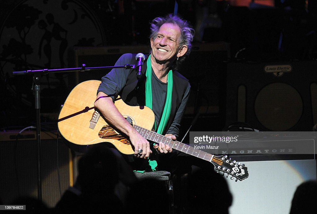Keith Richards performs on stage during Howlin For Hubert: A Concert to Benefit the Jazz Foundation of America at The Apollo Theater on February 24, 2012 in New York City.
