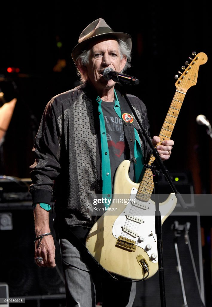 Keith Richards performs onstage at the Second Annual LOVE ROCKS NYC! A Benefit Concert for God's Love We Deliver at Beacon Theatre on March 15, 2018 in New York City.