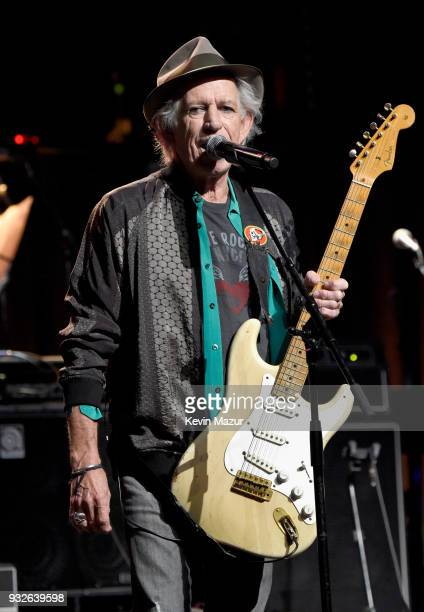 Keith Richards performs onstage at the Second Annual LOVE ROCKS NYC A Benefit Concert for God's Love We Deliver at Beacon Theatre on March 15 2018 in...