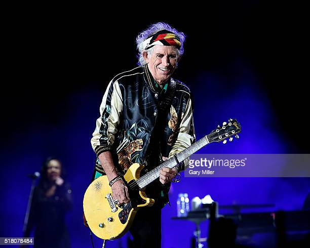 Keith Richards performs with the Rolling Stones at Ciudad Deportiva on March 25 2016 in Havana Cuba
