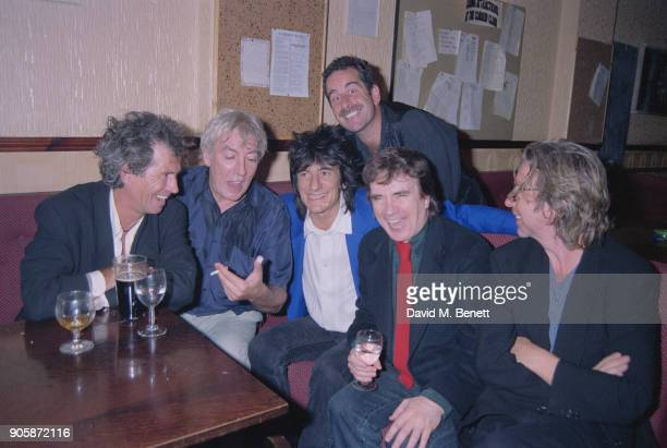 Keith Richards Peter Cook Ronnie Wood Dudley Moore and Dave Stewart at the release party for the uncut version of 'Derek and Clive Get the Horn' UK...