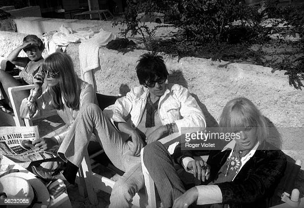 Keith Richards Rolling Stones' guitarist and Anita Pallenberg at his left Festival of Cannes 1967 HA14741