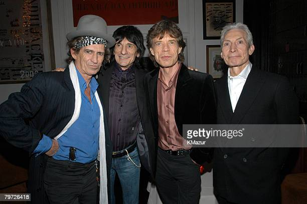 Keith Richards Ron Wood Mick Jagger and Charlie Watts of the Rolling Stones celebrate the launch of 'Four Flicks' at a party hosted by Best Buy at...