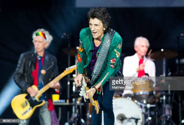 Keith Richards Ronnie Wood and Charlie Watts of the Rolling Stones perform live on stage at St Mary's Stadium on May 29 2018 in Southampton England