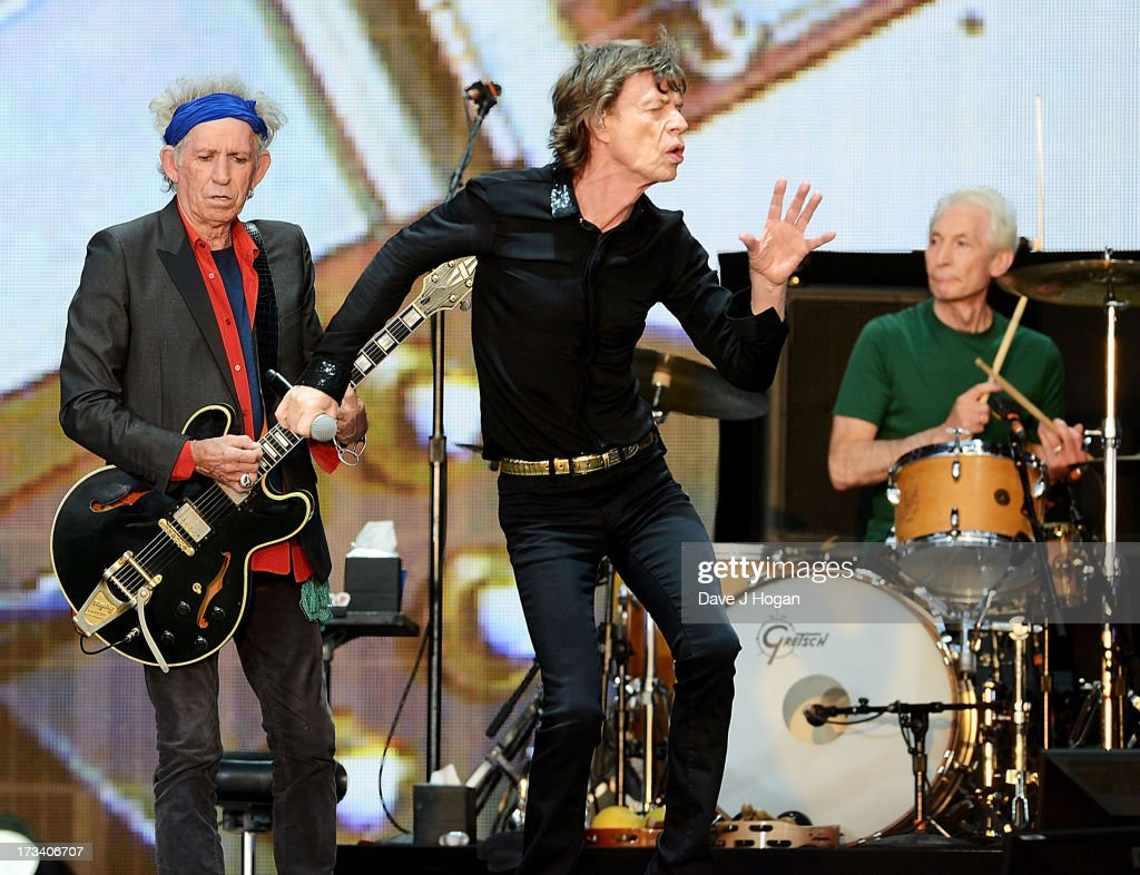 Keith Richards, Sir Mick Jagger and Charlie Watts of The Rolling Stones perform on stage during a headline performance as part of Barclaycard Present British Summer Time Hyde Park on July 13, 2013 in London, England.