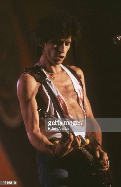 Keith Richards the lead guitarist of The Rolling Stones in concert at Syracuse New York state