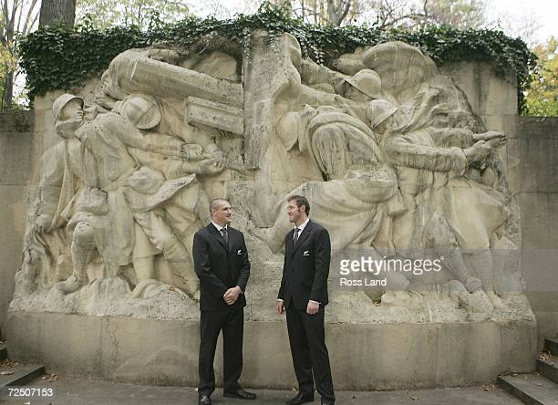 Keith Robinson and Chris Jack of the All Blacks during an Arimistice Day Ceremony at the War Memorial Ile du Souvenir Parc de la Tete d'or attended...