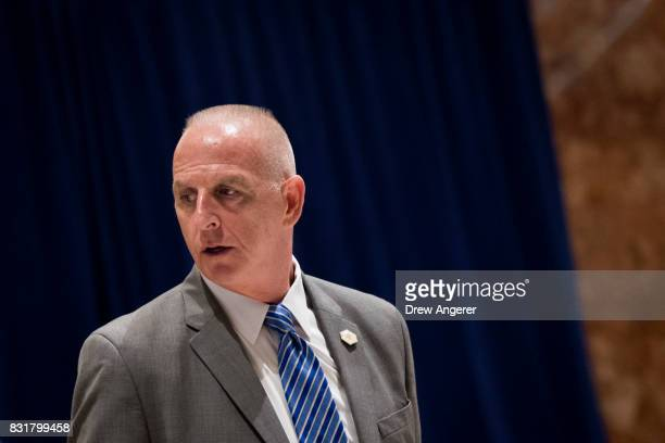 Keith Schiller director of Oval Office operations walks through the lobby at Trump Tower August 15 2017 in New York City On Tuesday President Donald...