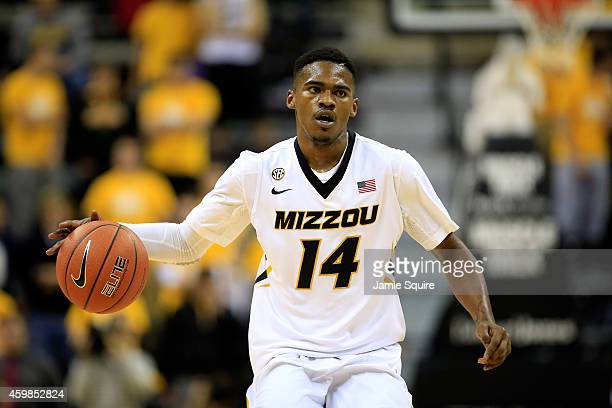 Keith Shamburger of the Missouri Tigers controls the ball during the game against the Southeast Missouri State Redhawks at Mizzou Arena on December 2...