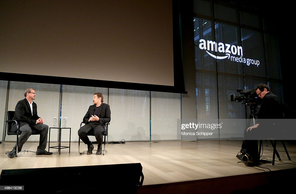 Keith Simanton (L) and Ethan Hawke speak onstage at the Live Taping of IMDB What To Watch w/Ethan Hawke during AWXI on September 30, 2014 in New York City.