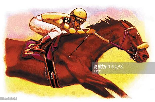 Keith Simmons color illustration a jockey riding a racehorse