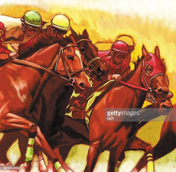 Keith Simmons color illustration of thoroughbred racing