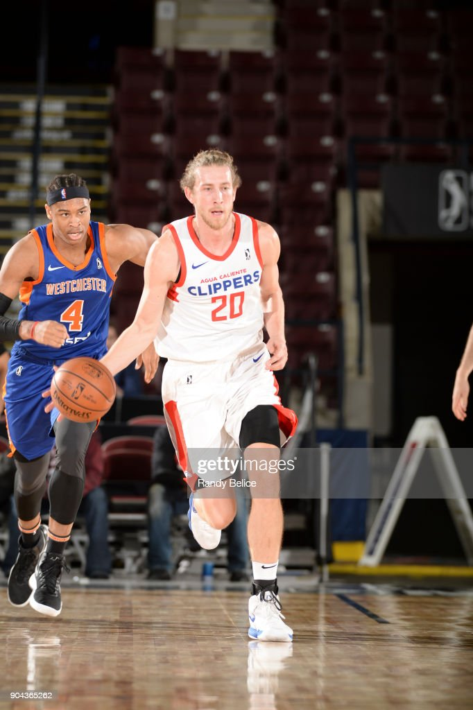 Keith Steffeck #20 of the Agua Caliente Clippers handles the ball against the Westchester Knicks at NBA G League Showcase Game 19 on January 12, 2018 at the Hershey Centre in Mississauga, Ontario Canada.