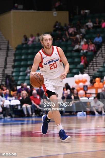 Keith Steffeck of the Agua Caliente Clippers handles the ball against the Texas Legends on March 18 2018 at the Dr Pepper Arena in Frisco Texas NOTE...