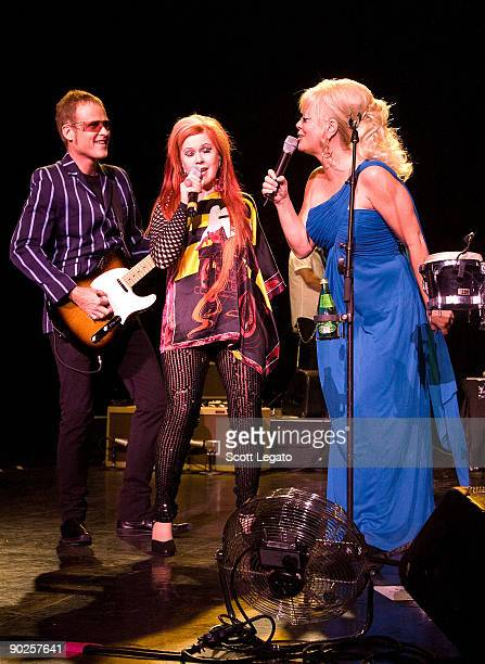 Keith Strickland, Kate Pierson and Cindy Wilsom of B-52'speforms at the DTE Energy Center on August 20, 2009 in Clarkston, Michigan.