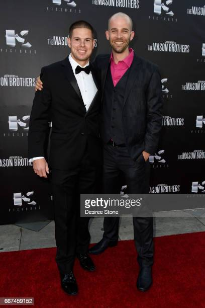 """Keith Sutliff and Brandon Sean Pearson attend the premiere of """"The Mason Brothers"""" at the Egyptian Theatre on April 11, 2017 in Hollywood, California."""