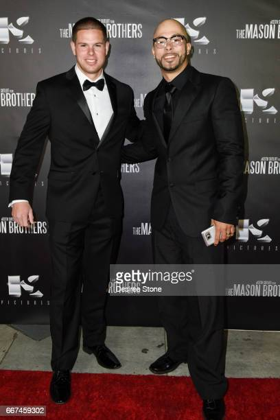 """Keith Sutliff and Gregory Gordon attend the premiere of """"The Mason Brothers"""" at the Egyptian Theatre on April 11, 2017 in Hollywood, California."""